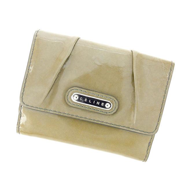 【中古】 セリーヌ CELINE Wホック財布 メンズ可 カーキ エナメルレザー G663