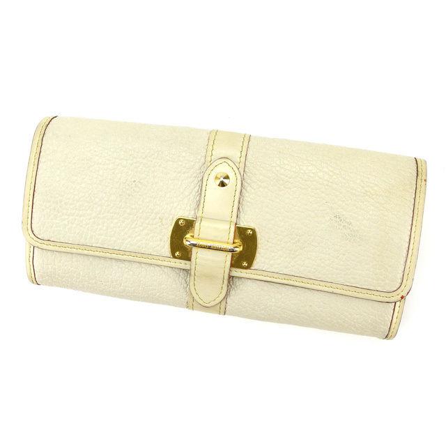 【中古】 ルイヴィトン Louis Vuitton 二つ折り長財布 メンズ可 ポルトフォイユ ルファヴォリ スハリ ブロン(オフホワイト) レザー G700