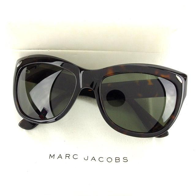 【中古】 マークジェイコブス MARC JACOBS サングラス サイドロゴ入リ レディース バタフライ型 クリアブラック×ブラウン×シルバー G733