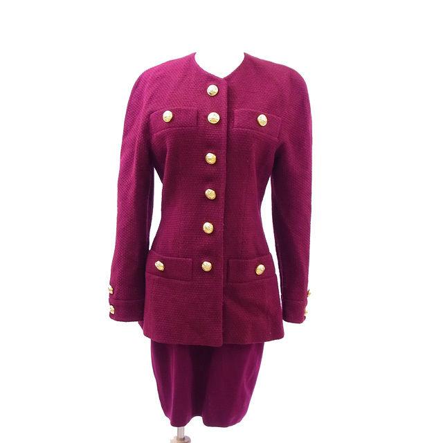 【中古】 セリーヌ CELINE スーツレディースセットアップ ワインレッド (JK)LAINE 85%PBLYAHIDE 15%(SK)Wool 100% H055
