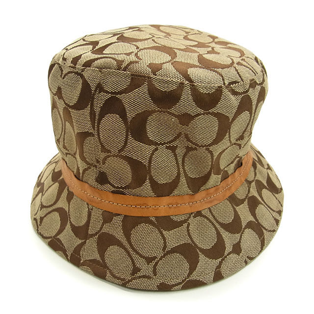 84b20dce347811 Coach COACH Hat hats women's signature beige x Brown canvas x leather  (lined) polyester ...