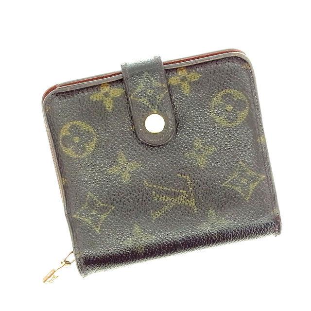 【中古】 ルイヴィトン Louis Vuitton 二つ折り財布 コンパクトジップ モノグラム PVC×レザー H169 .