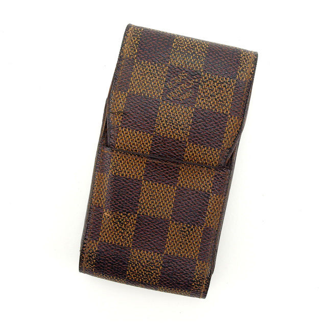 【中古】 ルイヴィトン Louis Vuitton シガレットケース タバコケース メンズ可 エテュイシガレット ダミエ N63024 エベヌ(ブラウン系) ダミエキャンバス H290 .