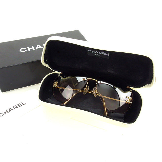 4bf1bbbcce65b Chanel CHANEL sunglasses glasses men-friendly rhinestone teardrop-shaped  Coco mark 4108-B c.125 8Z clear beige x Gold plastic   gold hardware with  beauty ...