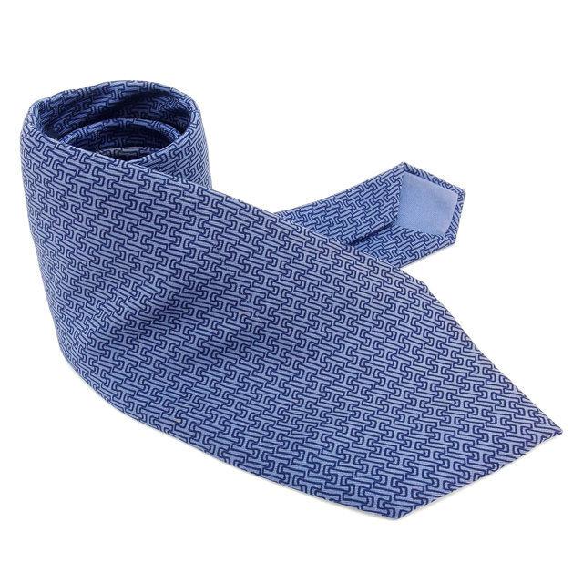 【中古】 エルメス HERMES ネクタイ レギュラータイ メンズ Hモチーフ柄 ブルー×ネイビー SILK 100% H295