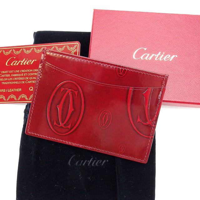 【中古】 カルティエ Cartier カードケース パスケース レディース ハッピーバースデー ボルドー パテントレザー H337 .