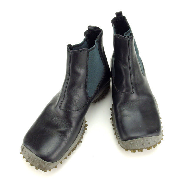 【中古】 ミュウミュウ miumiu ブーツ シューズ 靴 レディース ♯35ハーフ スクエアトゥ サイドゴア ブラック×グレー レザー×ラバー H362 .