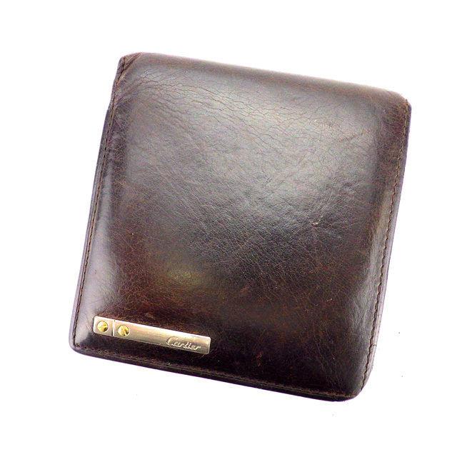 【中古】 カルティエ Cartier 二つ折り財布 男女兼用 サントス ダークブラウン×シルバー×ゴールド レザー H402 .