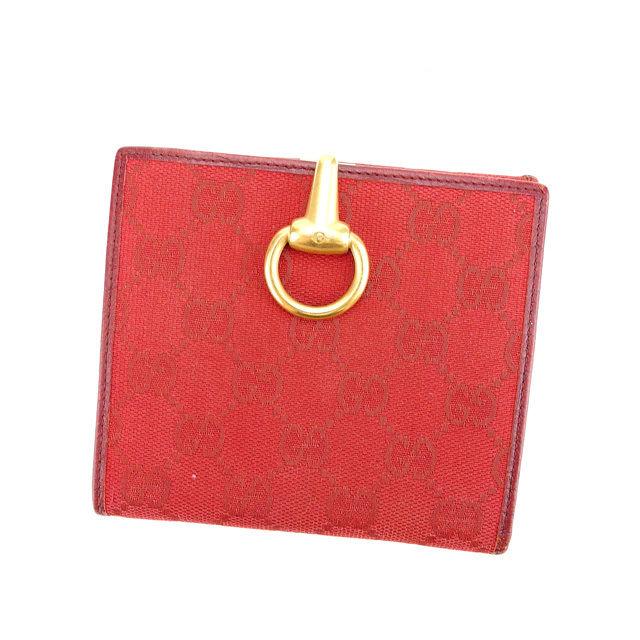 【中古】 グッチ GUCCI Wホック財布 二つ折り財布 レディース GGキャンバス レッド×ゴールド キャンバス×レザー H428 .