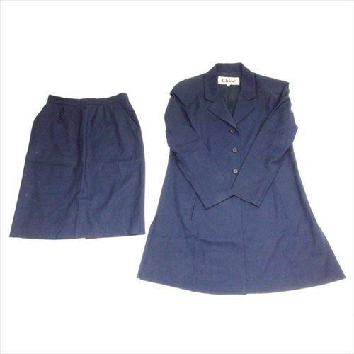 【中古】 クロエ Chloe スーツ タイトスカート セットアップ レディース テーラージャケット ロング丈 ネイビー 良品 即納 H531