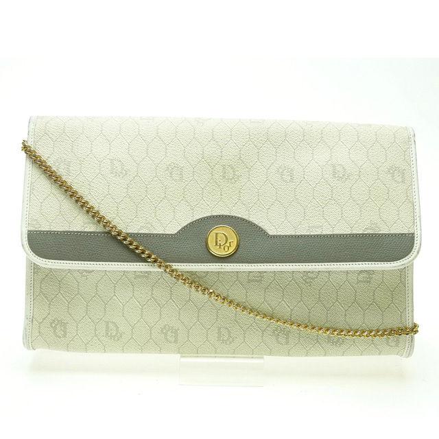 【中古】 (ヴィンテージ) クリスチャン・ディオール Christian Dior ショルダーバッグ チェーンショルダーバッグ ホワイト×ゴールド PVC×レザー I076