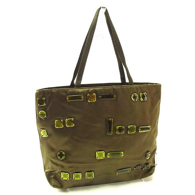 Prada Handbags Mini Las Jewel With Khaki Green Satin Canvas Beauty Products S I206
