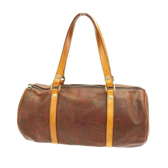 c4510d22aca0c ETRO ETRO handbags cylindrical bag men-friendly Brown Paisley x light brown  x Gold PVC x leather (for) discount sale I331