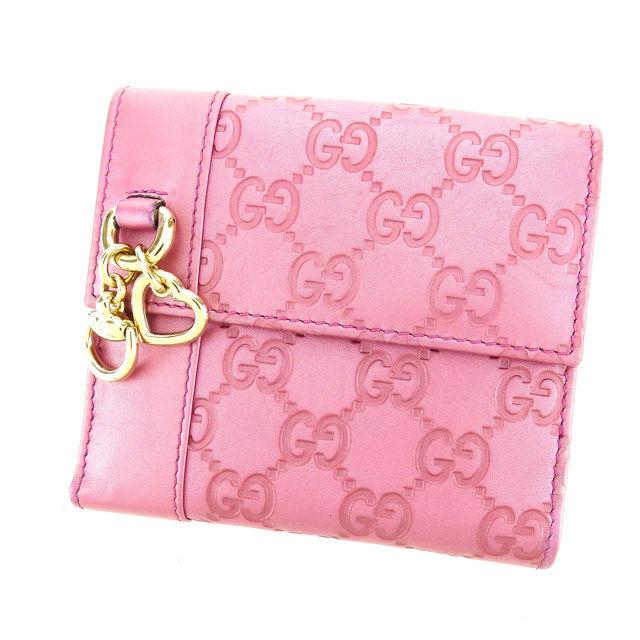 【中古】 グッチ GUCCI Wホック財布 二つ折り財布 レディース グッチシマ 270028 ピンク×シルバー レザー I372 .
