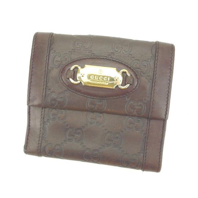 【中古】 グッチ GUCCI Wホック財布 二つ折り財布 男女兼用 グッチシマ 145747 ブラウン×ゴールド レザー I387 .