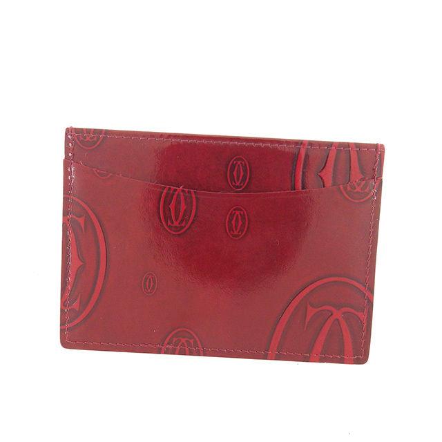 【中古】 カルティエ Cartier カードケース パスケース ハッピーバースデー ボルドー エナメルレザー I413 .