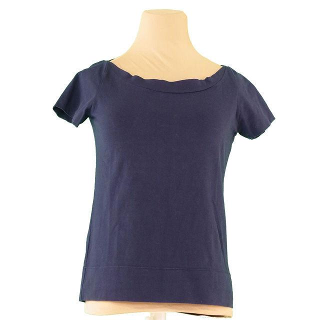 【値引きクーポン】 【中古】 フェンディ FENDI カットソー 半袖 Tシャツ レディース ♯42サイズ FFマーク付キ ネイビー×シルバー コットンC 92%エラスタンEA 8% I460 .