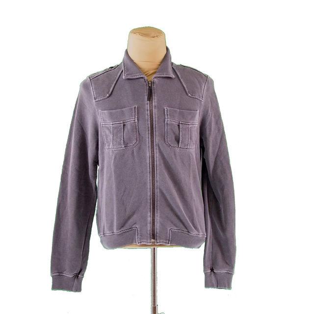 【中古】 プラダ PRADA トレーナー 胸ポケット付き メンズ ♯Mサイズ シングルZIP グレー 激安 即納 I477