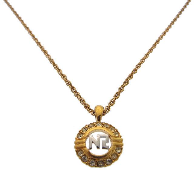 【中古】 ニナリッチ NINA RICCI ネックレス アクセサリー レディース ラインストーン付き ゴールド×シルバー T14799 .
