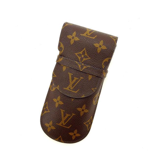 【中古】 ルイヴィトン Louis Vuitton メガネケース ペンケース レディース エテュイリュネットラバ モノグラム ブラウン PVC×レザ- 激安 K337 .