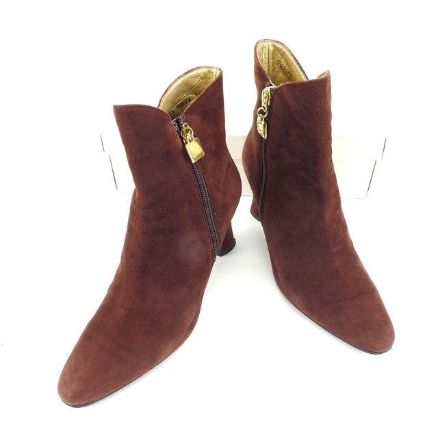 【中古】 イヴサンローラン YVES SAINT LAURENT ブーツ シューズ 靴 レディース ♯35ハーフ ショート ブラウン×ゴールド スエード 美品 L1003 .