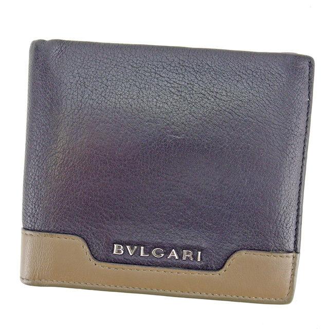 冬 プレゼント 二つ折り財布 アーバン メンズ 中古 BVLGARI . ブラック×モカブラウン 配送員設置送料無料 L1155 グレインレザー 評価 ブルガリ