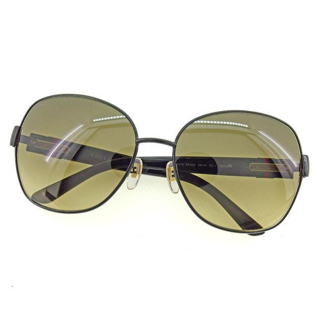 【中古】 グッチ GUCCI サングラス メガネ メンズ可 フルリム インターロッキングG ブラック×ゴールド系 プラスティック×ゴールド金具 人気 L1163