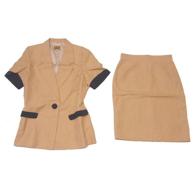 【中古】 フェンディ FENDI スーツ タイトスカート セットアップ レディース 半袖テーラージャケット バイカラー キャメル×ブラック VS/52%Linen/48%(裏地)Acetato/60%CP/40% (あす楽対応)良品 即納 L431