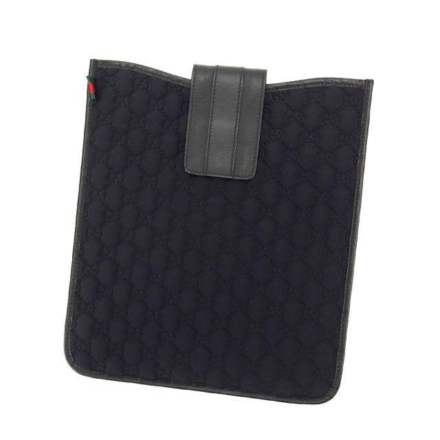 【中古】 グッチ GUCCI iPadケース アイパッドケース メンズ可 シェリーライン GG柄 256575 ブラック×グリーン×レッド キャンバス×レザー (あす楽対応)美品 L497