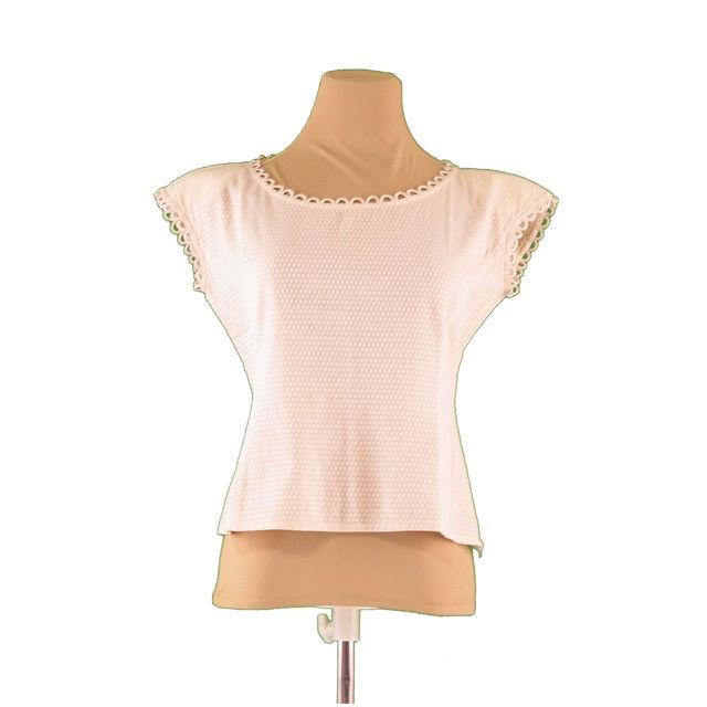 【中古】 クリスチャンディオール Christian Dior ブラウス スカラップパイピング レディース ♯Sサイズ 肩パッド付き スクエアドット ベージュ 綿/100% (あす楽対応) 中古 L511