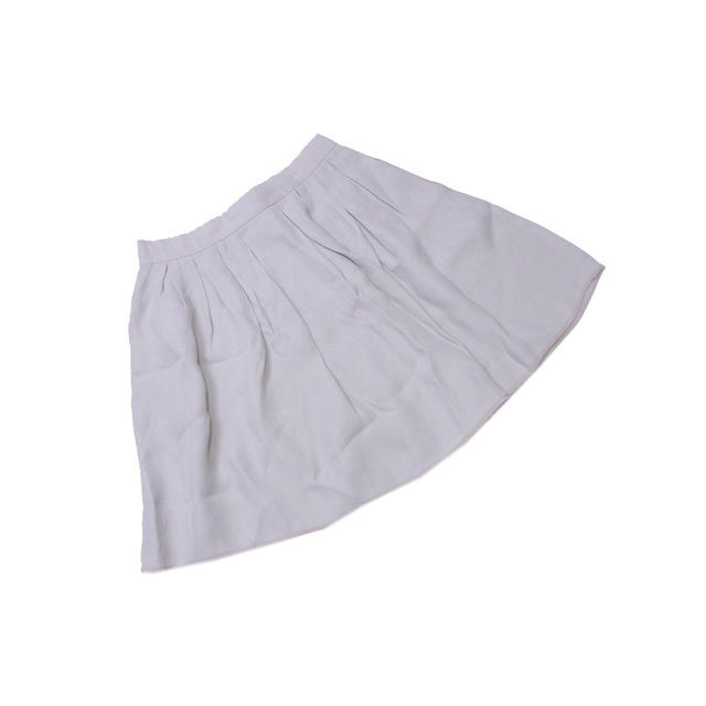 【中古】 フェンディ FENDI スカート タック入り リボン レディース ♯38サイズ フレアー ライトグレー×ホワイト VS/100%(別布)SILK/100% (あす楽対応)人気 L528