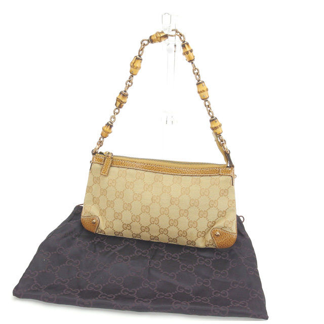 18156646555b35 Gucci GUCCI shoulder bag accessories porch Lady's bamboo shoulder GG canvas  124289 beige X natural X ...