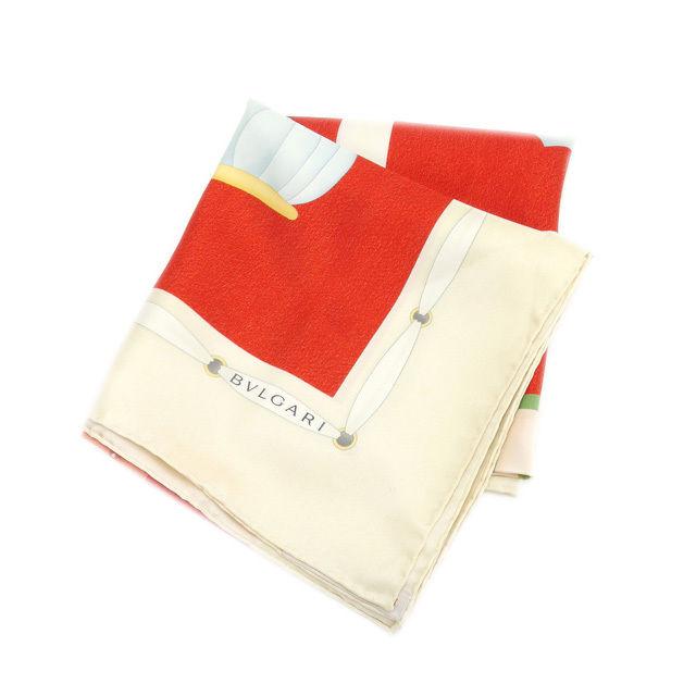 【中古】 ブルガリ BVLGARI スカーフ 大判サイズ メンズ可 帽子柄 ベージュ×レッド系 SILK/100% (あす楽対応)中古 L561