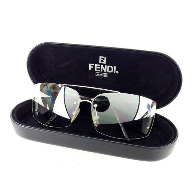 【中古】 フェンディ FENDI サングラス メガネ メンズ可 サイドFモチーフ付き 7398 68 クリアグレー×シルバー×ブラック プラスティック×シルバー金具 (あす楽対応)人気 L622 .