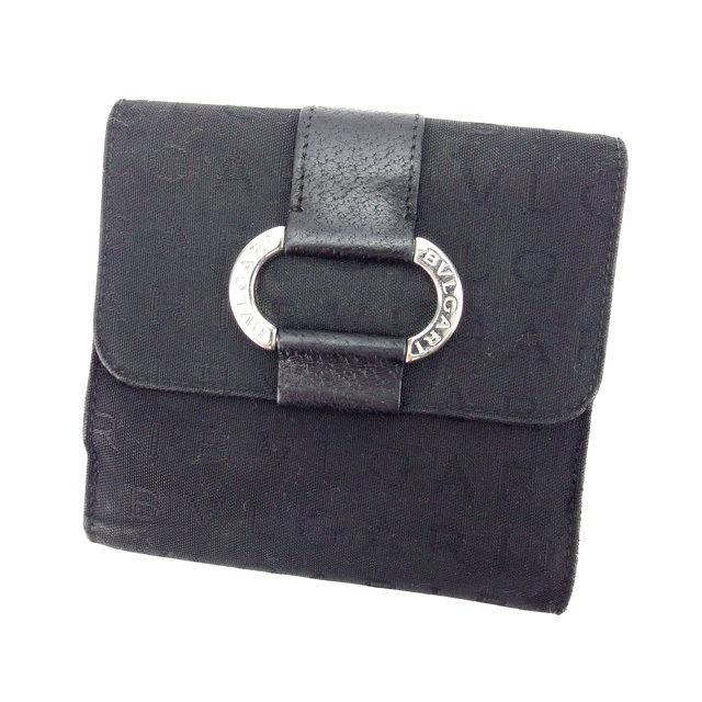 【中古】 ブルガリ BVLGARI Wホック財布 二つ折り コンパクトサイズ メンズ可 ブラック×シルバー キャンバス×レザー (あす楽対応)人気 L624 .