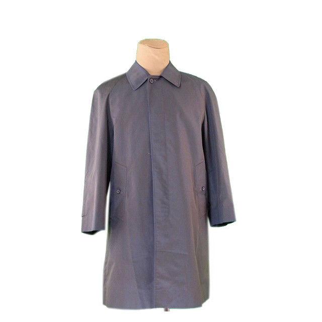 【中古】 バーバリー BURBERRY コート シングル ロング メンズ カーキ×ブルー PE/67%C/23% 裏地付き (あす楽対応)激安 L688