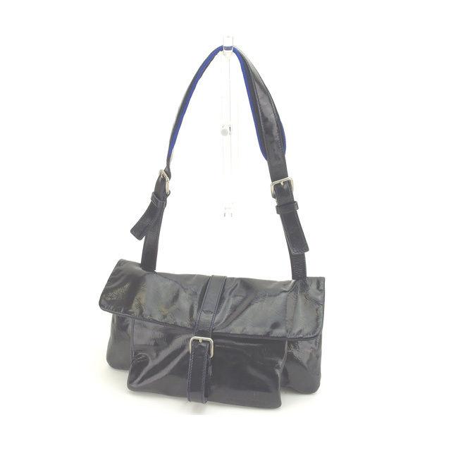 【中古】 ミュウミュウ miumiu ショルダーバッグ ワンショルダー 男女兼用 ベルトデザイン MB1632 ブラック×ブルー×シルバー パテントレザー (あす楽対応)人気 L804