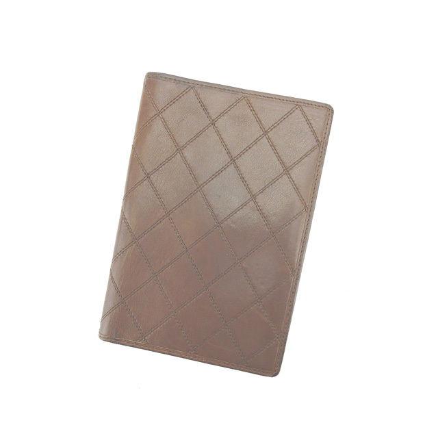 【中古】 シャネル Chanel 手帳カバー パスポートケース ダークブラウン ダブルステッチ レディース L807s