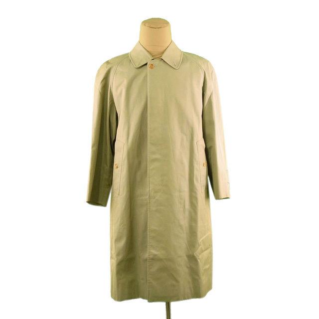 【中古】 バーバリー BURBERRY コート ロング メンズ シングル ステンカラー ライトカーキ 綿/100%(裏地)綿(袖裏)ポリエステル (あす楽対応)激安 即納 L832 .