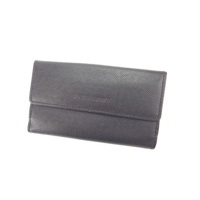 【中古】 バーバリー BURBERRY キーケース コインケース 5連 男女兼用 ロゴ ブラック×シルバー カーフレザー (あす楽対応)良品 L877