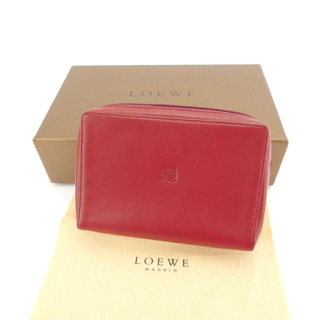 【中古】 ロエベ ポーチ 化粧ポーチ Loewe レッド×ゴールド L880s