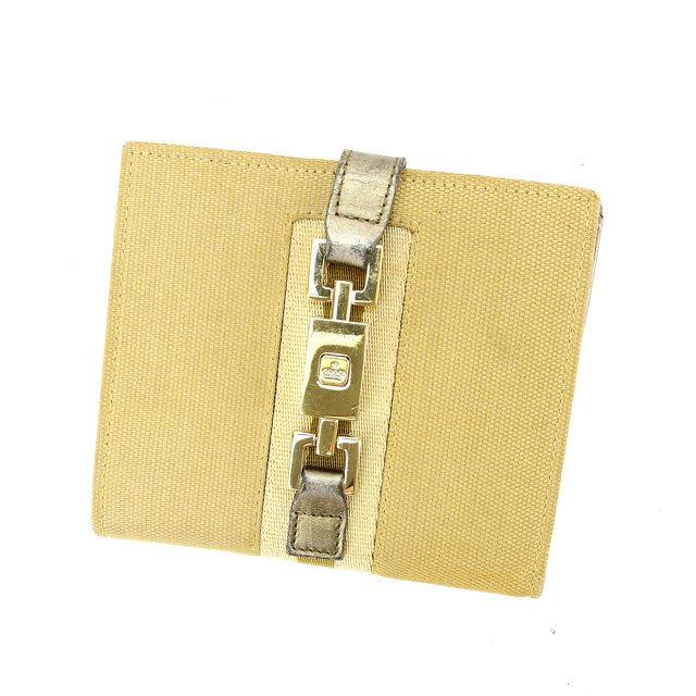 【中古】 グッチ GUCCI Wホック財布 二つ折り財布 メンズ可 035・0416・2131 ゴールド×ブロンズ キャンバス×レザー (あす楽対応)良品 人気 L940 .