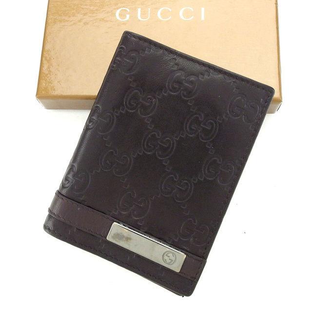 【中古】 グッチ GUCCI カードケース カード 名刺入れ レディース ダークブラウン×シルバー レザー L964