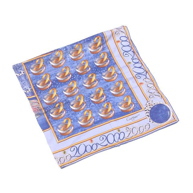 【中古】 カルティエ Cartier スカーフ 大判サイズ レディース ブルー×イエローゴールド系 SILK 100% L977