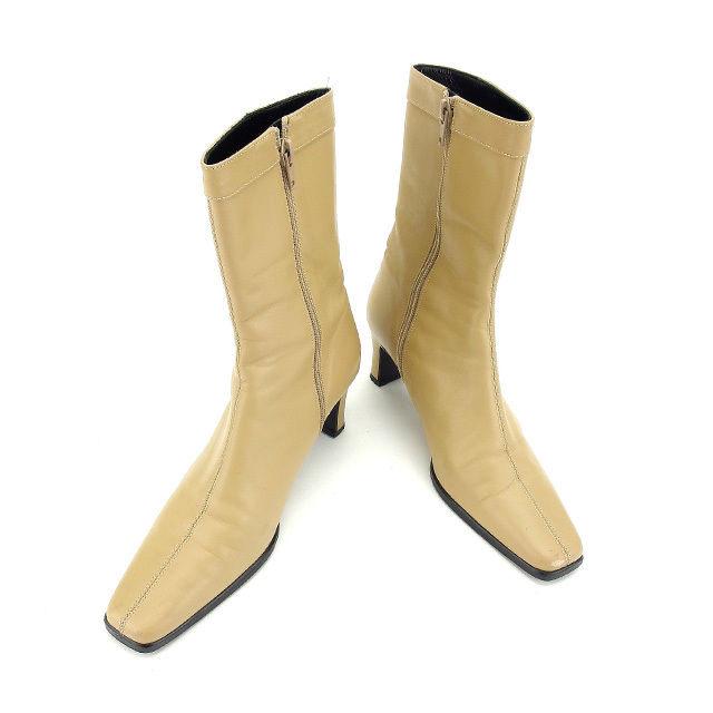 【中古】 バーバリー BURBERRY ブーツ シューズ 靴 レディース ♯23E ミドル ロゴプレート ベージュ×ブラックシルバー レザー 訳あり 美品 L990 .