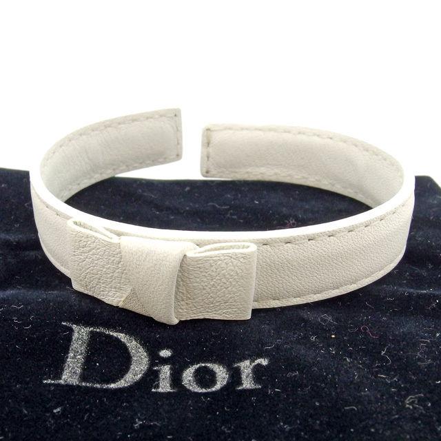【中古】 ディオール オム Dior Homme バングル アクセサリー メンズ可 ホワイト レザー L1242 .