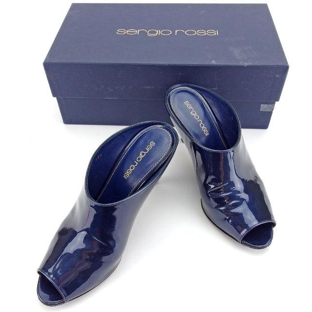 【中古】 セルジオロッシ Sergio Rossi ブーサン シューズ 靴 レディース ♯35ハーフ ネイビー エナメルレザー L1274