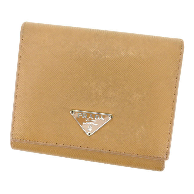 05631089ce25 Prada PRADA three fold wallet men's possible logo plate beige X  シルバーサフィアーノレザー popularity sale L1403