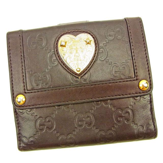 【中古】 グッチ Gucci Wホック財布 レディース グッチシマ ブラウン×ゴールド レザー 人気 L1507