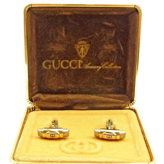 【中古】 グッチ Gucci カフス メンズ ヴィンテージ インターロッキング ゴールド×シルバー レア L1518 .